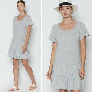 Joie SOFT grey jersey ruffle scoop neck dress